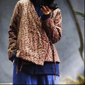 2021 Spring Fashion Floral Print Cotton Linen Warm Belt Coat New Comfortable Women Cotton V neck Thick Coat