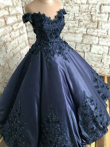 Vintage Navy Blue 3D Floral Flowers Evening Quinceanera Dresses Formal Gowns 2021 Satin A line Lace South African Cheap Prom Formal Dress