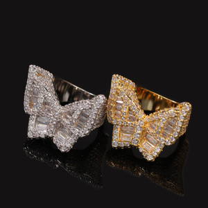 Bling Mens Jewelry Iced Out Butterfly Ring Men Women CZ Zircon Diamond Rings New Fashion Hip Hop Luxury Gold Silver Ring Jewelry