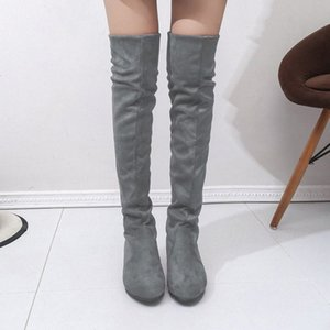 Womens High Boots Shoes Fashion Women Over The Knee Boots New Autumn Winter Flock Botas Feminina Thigh High Ladies T1Gh#
