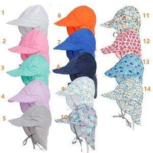 DHL 14 styles UV Protection Sun Hat Unisex Newborn Infant Toddler Kid Baby Boys Girls Summer Beach Headwear Outdoor Bucket Hat Cap Cotton