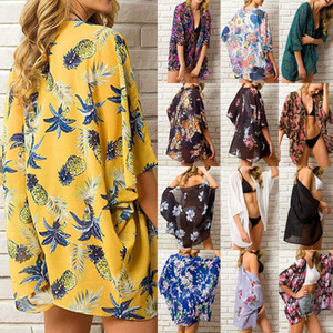 Summer Ltest Polychrome Women Florl Kimono Swim Cover-Ups Femle Bech Boho Crdign Bthing Tops Bech Bikini Cover Up Outfit