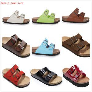 Hot Fashion Top Marca Arizona Homens Flat Salto Flat Slipper Mulheres Mutaicolor Verão Casual Sapatos Fivela de Alta Qualidade Genuine Leather Atacado