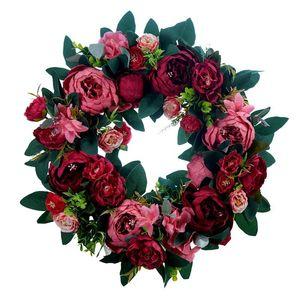 HOT Artificial Peony Flower Wreath for Front Door Farmhouse Welcome Door Wall Window Wedding Birthday Party Home Decor