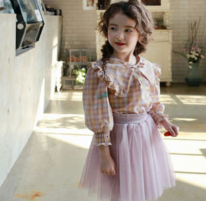 Sweet Girls Plaid shirts 2021 Spring new kids Bow ruffle Lapel Long Sleeve blouse girls cotton princess tops A6027