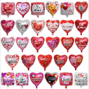 18inch 스페인어 신부와 신랑 당신을 사랑한다 당신을 사랑한다 mylar 풍선 사랑 마음 결혼식 / 발렌타인 데이 헬륨 풍선 globos
