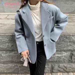 Aelegantmis Vintage Kore Moda Kadın Yün Blazer Coat Ofis Lady Kore Moda Kadın Sıcak Yün Blzer Suit Coat 2021