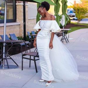 Rustic Boho Soft Satin Mermaid Wedding Dresses With Detachable Train For African Bride Boat Neck Short Sleeves Sexy Bohemian Wedding Dress