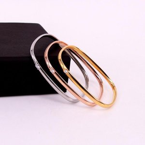 60mm Hot Sale Stainless Steel Zircon Crystal Square Bangle Bracelet Screw Rose Gold Color Female Woman Girl Party Wedding Gift1