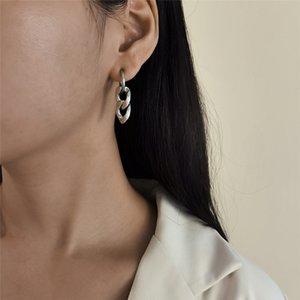 جديد وصول بسيطة الشرير الفولاذ المقاوم للصدأ سلسلة القرط الأزياء الكلاسيكية هندسية غير المتماثلة استرخى إسقاط أقراط النساء مجوهرات