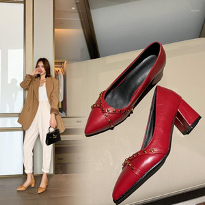 Hot sale-Thick High Heels Shoes Women Pumps Pointed Toe Work Shoes Slip On High Heels Spring Footwear Big Size 9 42 43 Red Yellow1