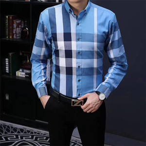 Luxurys Desihners Men's Fashion Casual Shirt Casual Design Pattern Men's Social Shirt 100% Cotton Long Sleeve Men's Dress Shirt S-3XL#05