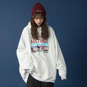 Aqoia sonbahar erkek arkadaşı stil mektup baskı gevşek pamuk kadın hoodies ince kazak cepler 2021 kazak büyük boy