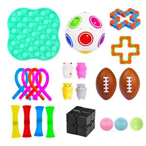 Fidget Decompressione Giocattolo per bambini Set Pop Fidget Corda elastica Rainbow Rugby Pinch Ball Catena Squeeze Sensory Toy per bambini Famiglia EAA231-2