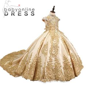 Gold Glitz Ball Gown Princess Bambine Bambine Pageant Abiti Fuchsia Little Baby Camo Flower Girl Abiti con perline BC4609