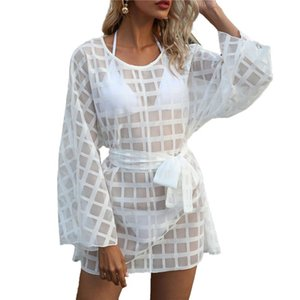 2021 Women's Plaid Smock Round Neck Long Sleeve Lace Up Waist Beach Dress Loose Swimsuit Blouse for Female Clothing Ladies Dress