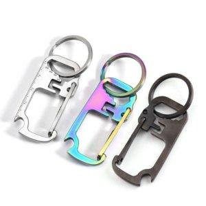 3 colors Stainless Steel Key Chain Multi-function Opener Ruler Keychain Hang Buckle Key Ring Beer Bottle Opener
