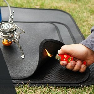 Camping en plein air Tissu ignifuge Pique-nique Barbecue Flamme Tapis de protection Tapis de protection en silicone Matériel BBQ