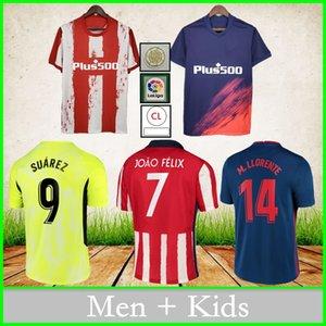 أتليتيكو مدريد لكرة القدم الفانيلة 2021 2022 سواريز جواو فيليكس H.Herrase Koke Diego Costa Home Away Third Football Shirt Men Jersey + Kids Kit Oright