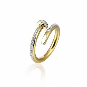 Designer rings diamond ring classic jewelry men women titanium steel alloy gold-plated craft gold and silver rose never fade double opening adjustable
