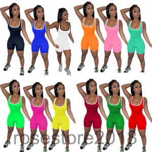 2021 New Women's Jumpsuit fashion Designer U-neck independent casual jumpers shorts home multicolor tight plastic jumpers Slim Rompers