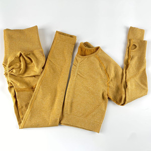Sem costura sportswear yoga set ginásio exercício roupas de exercício para mulheres manga longa colheita top treinamento calças activewear esporte terno