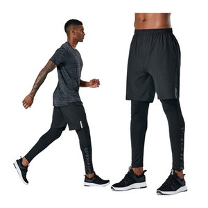 Training Men Trousers Breathable Elastic Soccer Long Pants Compression Quick Drying Pants Fake 2 In 1Running Man Sports Legging