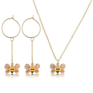 Cute Fashion Bee Necklace and Earrings Suite Personalized Long Insect Enamel Pendant Choker Ornaments