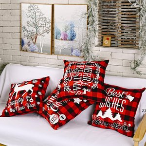 Christmas Pillow Case Black and Red Buffalo Plaid Linen Cushion Cover for Sofa Couch Xmas Decor 18 Inch HWE9613