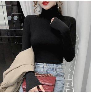 Women's T-Shirt 2021 High Collar Solid Color Long-sleeved Slim Women Autumn And Winter