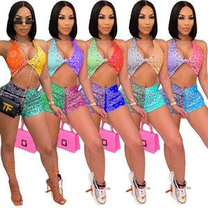 Kadın Eşofman İki Adet Set Tasarımcı Kolsuz Tank Üst Mini Şort Yaz Giyim Desen Baskılı Clubwear Rahat Kıyafetler 5 Renkler