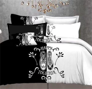 Black&White Her Side His Side Bedding Sets Queen Size Double Bed 3pcs Bed Linen Couples Duvet Cover Set 44 V2