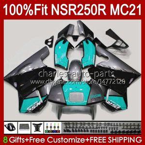 Inyección por HONDA NSR250R MC21 PGM3 NSR250 103HC.197 CYAN WHITE NSR 250 R NSR 250R 90 91 1992 1993 NSR250RR 1990 1991 92 93 Fairting OEM