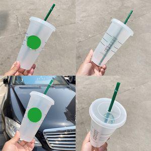 24OZ 710ml clear Plastic coffee mugs with lid Tumbler Reusable Drinking Flat Bottom Cup Pillar Shape Straw Mug Bardian