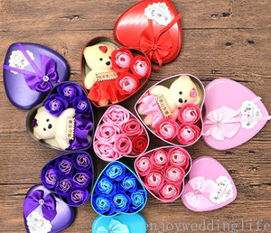 2021 new Soap Flower Gift Box Valentine's Day Gift Valentines Day Decoration Rose Flower Heart-shaped Tin Box Free Shipping
