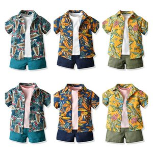 Boys Suits Kids Sets Baby Outfits Summer Cotton Short Sleeve Shirts T Shirt Shorts 3Pcs Beach Boys Clothes 1-6Years B3920