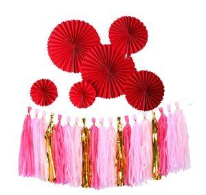 The Paper Tassel Guirlande Frange Annonce Anniversaire Décoration Fashion Party Décor Décor Bannière Balonnières Ballons Tails Genre Révécher Cadeaux WLL36
