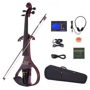 Ammoon VE-209 Full Size 4/4 Silent Electric Violin Solifisa in legno massello con arco Cassa cotta Tuner Cuffia Rosin Audio Cable Strings