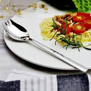 Acier inoxydable One miroir Table de salade Spoon Durable Petit Creative Enfants Polissage Fork Safety Cuisine Outil