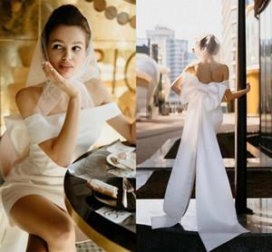 Sheath Wedding Dresses 2021 Short Style Off Shoulder Satin Backless Bridal Gowns Garden Beach Simple Vestido De Novia with Big Bowknot Ribbon Chic France AL9599