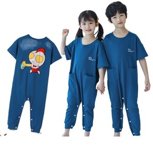 Lovely Summer Soft Pajama Sets Cartoon Pyjamas Boys Girls Homewear Spring Autumn Onesie Pajamas Sleepwear for Kids Nightwear 210915