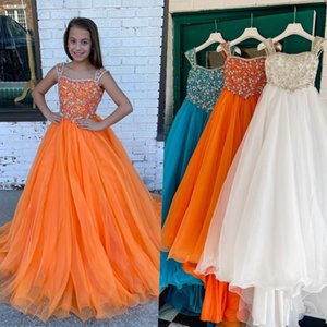 Orange Pageant Dress for Infant Toddlers Teens 2021 Beading Strap ritzee roise A-Line Organza Long Little Girl Kid Formal Party Gown Zipper V-Back Crystals AB Stones