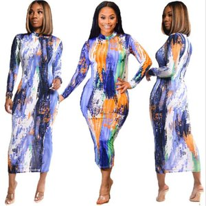 Fashion Autumn Women Dresses Tie-dye Printing O-Neck Long Sleeve Bodycon Knee Length Dresses For Nightclub Party Real Pictures