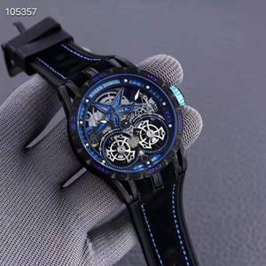 مصنع جديد rd excalibur 46 كامل الجوف خارج توربيون الرجال ساعة اليد مياوتا التلقائي حركة المطاط حزام 46 ملليمتر الرجال الفاخرة ووتش