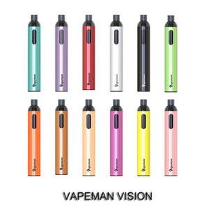 Authentic VAPEMAN Vision Dispositivo di pod monouso con finestra visibile 2500 sbuffi 700mAh ricaricabile Penna per vapore per barretta per barra Podstick Starter Kit