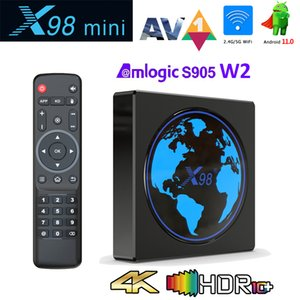 X98 Mini Android TV Box Amlogic S905W2 2GB 16GB 4K Smart Media Player 2.4G 5G Wifi Supports BT Airplay DLNA Miracast Android 11.0 TVbox with Unique Lighting Effect