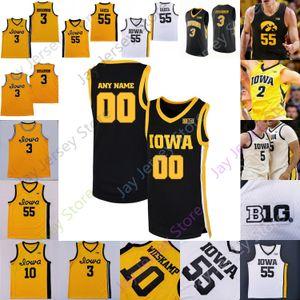Personnalisé 2021 Iowa Hawkeyes Jersey Basketball NCAA College Luka Garza Joe Wieskamp CJ Fredrick Bohannon Connor McCaffery Ahron Ulis