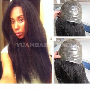 8a Качество 1b kinky прямые перуанские человеческие волосы девственница полная тонкая кожная парик для черных женщин Бесплатная доставка