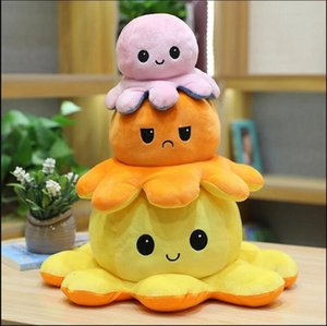 24 Hours Ship! Reversible Flip Octopus Stress Release Plush Dolls Plush Stuffed Toys Soft Animal Party Favor Cute Animal Doll Children Gifts
