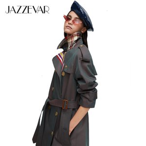 Jazzevar 2021 New Arrival Autumn Khaki Trench Casual Fashion High Quality Cotton with Belt Long Coat for Women 9004